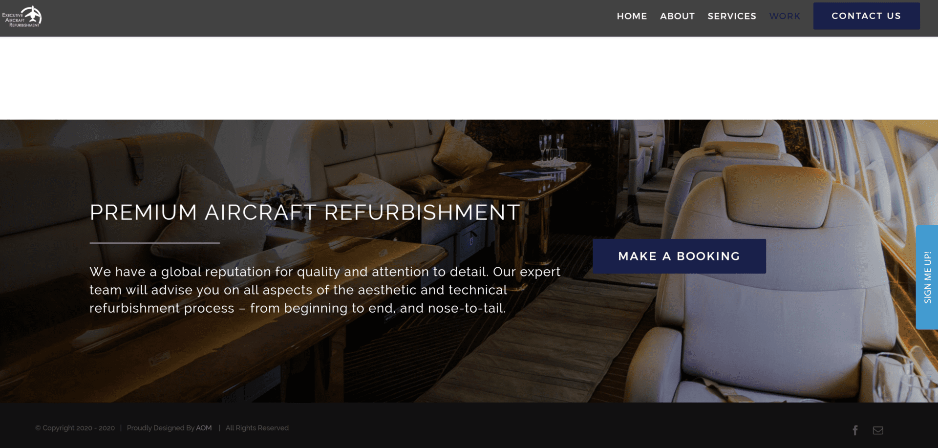 Executive Aircraft Refurbishment, AOM, Digital Marketing Agency, Recent Work